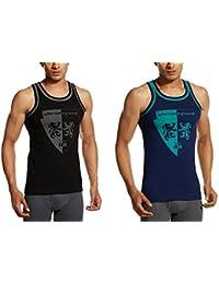 Chromozome Men's Cotton Vest (ST-04 Black & Navy S) (Pack of 2)
