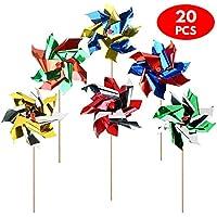 Bramble Molinos de Viento Surtidos de Colores Vivos. Ideales para Usar en la Playa o en una Fiesta. Perfectos para ahuyentar a los Pájaros en el Jardín