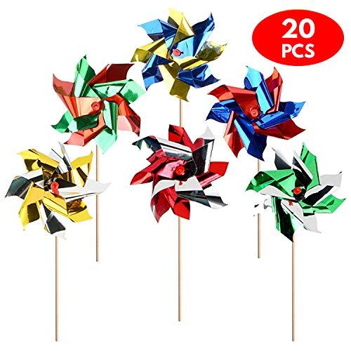12x Windmühle Windrad für Garten & Kinder aus wetterfester Folie – Bunte Windspiel Kinderwindmühle für Draußen, Strand, Terrasse & Blumen-Beet – als Garten-Deko, Party-Artikel & Vogelschreck