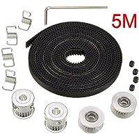 Electrely 5M GT2 Timing Polea Cinturón + 2pcs GT2 Polea 20 Dientes Orificio 5 mm + 2pcs Idler + 4pcs Cinturón Cierre Muelle + Llave para Impresora 3D RepRap