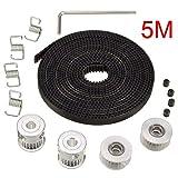 Electrely 5M GT2 Zahnriemen + 2 Stück GT2 Riemenscheibe 20 Zähne Bohrung 5mm + 2 Stück Idler + 4 Stück Riemensperrfeder + Schraubenschlüssel für 3D-Drucker RepRap