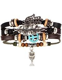 Young & Forever Tastic Multilayer Leather Hamsa Hand Peace Owl Leaf Charm Gift Brown Bracelets for Men