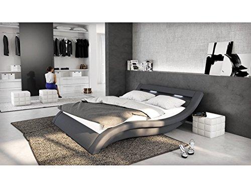 Polster-Bett 180x200 cm grau aus Stoff mit LED-Beleuchtung | Loox | Das Stoff-Bett ist ein Designer-Bett | Doppel-Betten 180 cm x 200 cm mit Lattenrost in Textil, Made in EU