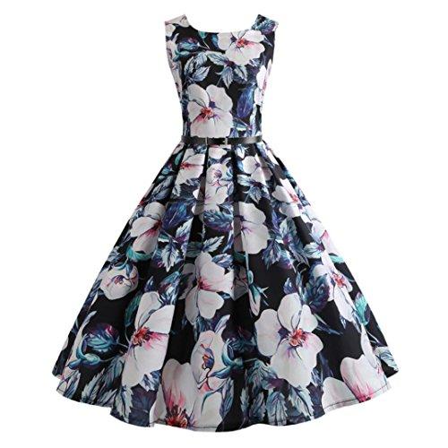 Damen Retro Tanktops Kleid SUNNSEAN Frauen Floral Drucken Sommerkleid Mode Elegante Großer Rock Party Kleide Gemütlich Strandkleider Taille Kleid (XL, Schwarz)
