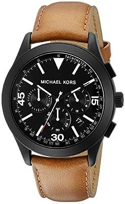 Michael Kors MK8450Gareth Cronógrafo Negro Dial Brown Cuero Hombres Reloj De