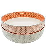 Große Salatschüssel / Obstschale mit Muster - 1 x Hellblau & 1 x Koralle / Orange mit geometrischem Design - 284 mm - 2 Stück