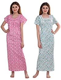CIERGE Women's Smoking Cotton Fabric Beautiful Print Nighty (Multicolor, Free Size) Pack of 2