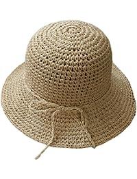 Cappelli Panama Bambina Cappellino da Sole di Paglia Cameretta Berretto  Casual da Mare Spiaggia Tinta Unita eadf2032e914