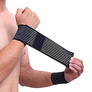 Elastische Handgelenk Bandage 2er Set für Damen und Herren stützt hilft Überlastung zu vermeiden atmungsaktiv flexible Kompression bei Sport und Heilung verschiedene Farben schwarz