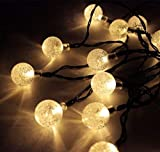 CMYK Solar Betrieben 30LED-Lichterkette Licht mit Kristall Ball, Ambiente Beleuchtung, ideal für den Außenbereich in Terrasse, Weg, Garten, Innenbereich in Party, Schlafzimmer Decor (Warm Weiß)