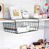 #8: Easy sliding compact under shelf storage basket/wire rack for extra cabinet storage, pantry, kitchen, bathroom, dish drying-hanging organizer by Sandbox.
