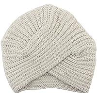 Dxlta Invierno Mujer de punto Sombrero de Turbante, India Plate Head Cap, lindos Tejer cruzados Hat Negro / Gris