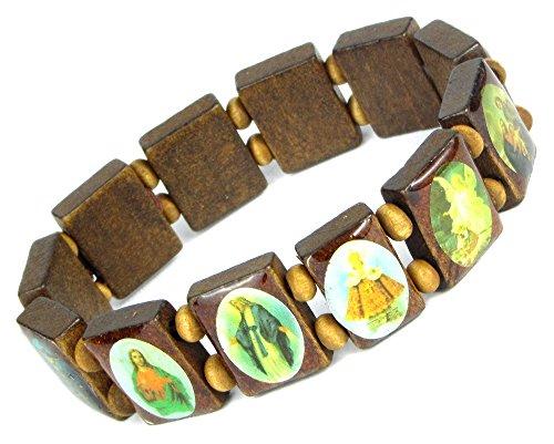 Holz Armband Heiligen Bilder Ikonen Damen Herren Gummizug Mittelbraun (Holz Rosenkranz Armband)