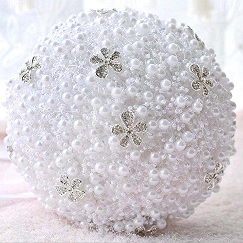 Handgemachte Luxuxrhinestone-Perlen-Satin-Simulations-Rosen-Brautholding-Blumen-Hochzeits-Blumenstrauß-Feiertags-Versorgungsmaterialien, die Hochzeits-Versorgungsmaterialien Wedding sind, ordnen künstliche Blumen ( Color : Weiß )
