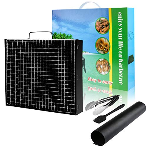 51WJur1oneL - Gifort Portable Grill, BBQ Holzkohlegrill Tragbar Mini Grill mit Rostfreier Stahl BBQ Drahtgeflecht Faltbare Mini Holzkohlegrill BBQ für Outdoor Garten Camping Party Beach Barbecue