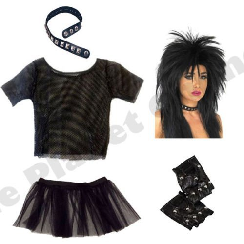 b3c98eb062 ... Punk Rocker Costume Set with Mesh Top, Wig, Studded Choker, Tutu Skirt &