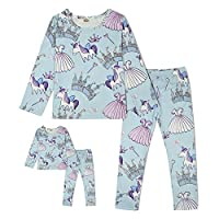 ModaIOO Matching Dolls & Girls Pajamas Dinosaur Mermaid Unicorn Pyjama Kids Sleepwear Set
