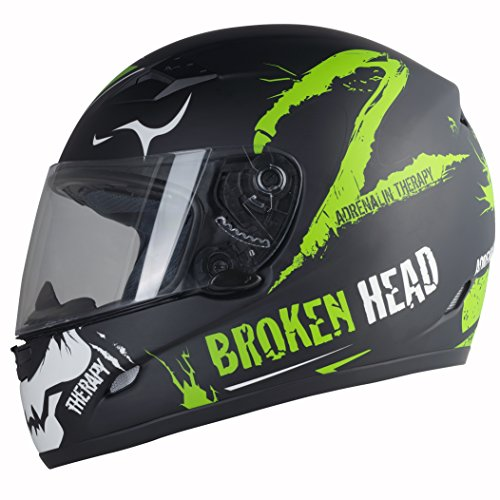 Broken Head Adrenalin Therapy II matt (L 59-60 cm) Motorradhelm - Helm grün - Integralhelm