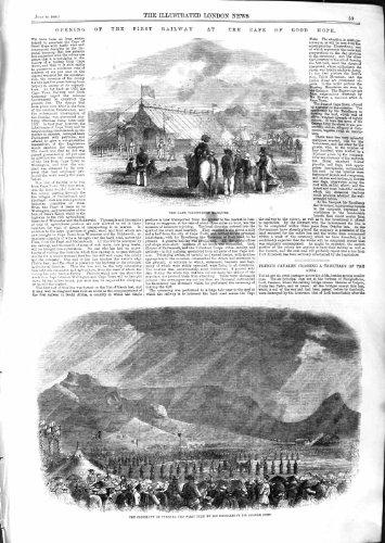 ESPOIR de CAP de 1859 CHEMINS DE FER le BON OFFRE le GRIS de BANNIÈRE [Cuisine et Maison] par original old antique victorian print