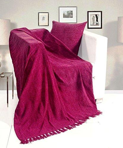 KLiving 90 x 100 cm Uni-Chenille de Polyester-vin