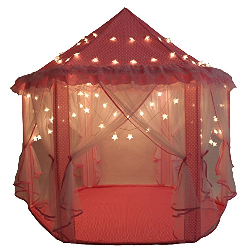 Kinder Spielplatz Prinzessin Schloss Zelte, Shayson im freien tragbare großen Spielhaus, perfekte Indoor Spielzeug Geschenk für Kind Kleinkinder (Mit kleinen Sterne leuchten) Kleinkind Bett Tinkerbell