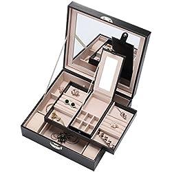 Pasutewel - Joyero, piel sintética, con espejo grande y 2 bandejas, para mujer y chicas, para organizar joyas y relojes, con cerradura