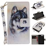 Sony Xperia X Compact Case,BONROY® Sony Xperia X Compact wild animals painting PU Leather Phone Holster Case, Flip Folio Book Case, Wallet Cover with Stand Function, Card Slots Money Pouch Protective Leather Wallet Case for Sony Xperia X Compact