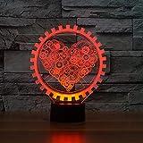 XIAOXINYUAN D4Creativo Amor Corazón 3D Colorido Gradiente USB Touch Control Led Lámpara De Mesa De Noche Sleep Nightlight Pareja Regalo