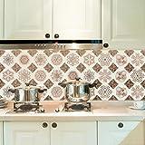 JY ART Fliesenaufkleber Marokkanischer Stil Muster Küche Anti Staub Wandaufkleber PVC Selbstklebend Wasserdicht Feuchtigkeitsfest Fliesen-Aufkleber, 20cm*5m