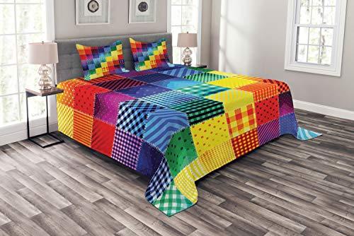 ABAKUHAUS Abstrakt Tagesdecke Set, Regenbogen-Retro Patchwork, Set mit Kissenbezügen Maschienenwaschbar, für Doppelbetten 220 x 220 cm, Multicolor