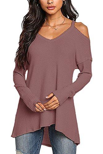YOINS Damen Pullover Schulterfrei Oberteil Off Shoulder Pullover Strickpullover für Damen V-Ausschnitt Lila EU36-38