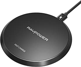RAVPower Wireless Charger 10W Qi Wireless Ladegerät kabelloses Schnellladegerät für Samsung Galaxy S9, S9 Plus, S8, S8 Plus und iPhone X, iPhone 8, iPhone 8 Plus Anderen Qi-fähigen Geräte, schwarz