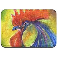 diyabcd Colorful gallo peine arte Felpudo antideslizante para casa jardín puerta alfombra Felpudo piso almohadillas