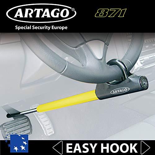 Artago 871A/B Canne Antivol Voiture Volant Pédale Universelle Européenne Facile à Transporter, Noir et Jaune