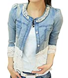 Frauen Perlen Spitze Nähen War Dünn Jeansjacke Mantel Outwear Bolero Tops Kurzshirt (Europa 36=Asiatische M)