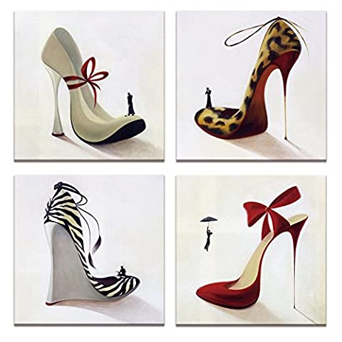 Fashion Shoes Pictures Canvas Art,High Heel,Innovational Protect Animals Series Design,Shoe Shop Wall Decor,12x12inchesx4pcs, Ready to Hang on Canvas Painting Prints