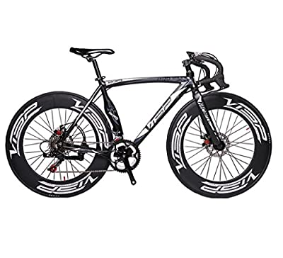Cyrusher Machete Black Aluminium Frame 54 cm 700C 70MM Mens Road Bike Speeds Road Bicycle Mechanical Disc Brakes by Feishite