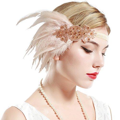 Stirnband 20er Jahre Stil Art Deco Flapper Haarband Great Gatsby Stirnband Damen Kostüm Accessoires (Champagner mit elastischem Band) (20er Jahre Art Deco)