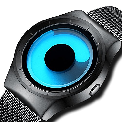VILAM Men\'s Quartz Analogue Stylish Unique Design and Stainless Steel Milanese Mesh band and Wrist Watch(Blue Dial and Black Band, PDUJHNCTYINLO)