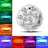 XZ Luci a LED sommergibili universali con telecomando Luci per acquario multicolore subacquee Lampada per vasca idromassaggio alimentata a batteria impermeabile,4 pezzi