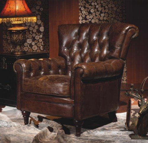 Phoenixarts Sessel Chesterfield Ledersessel Vintage Design Ohrensessel Leder Lounge ClubSessel (Braun 449)
