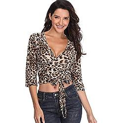 Leopardo de impresión Abrigo Mujeres Top Camisas con Cuello en V Blusa Corta 1/2 Mangas señoras túnica Sexy Crossover Cintura Tie - S
