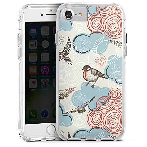 Apple iPhone 6s Bumper Hülle Bumper Case Glitzer Hülle Vogel Bird Pattern Bumper Case transparent