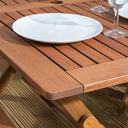 Sienna Wooden Table and 4 Chair - Folding Garden & Patio Dining Furniture Set