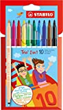 Filzstift und Fineliner in einem - STABILO Trio 2 in 1-10er Pack - mit 10 verschiedenen Farben
