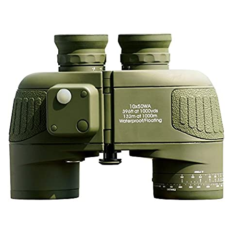 USCAMEL® 10x50 HD Military Binoculars with Rangefinder Compass Telescope Nitrogen Filled Waterproof Sports Optics Army Green