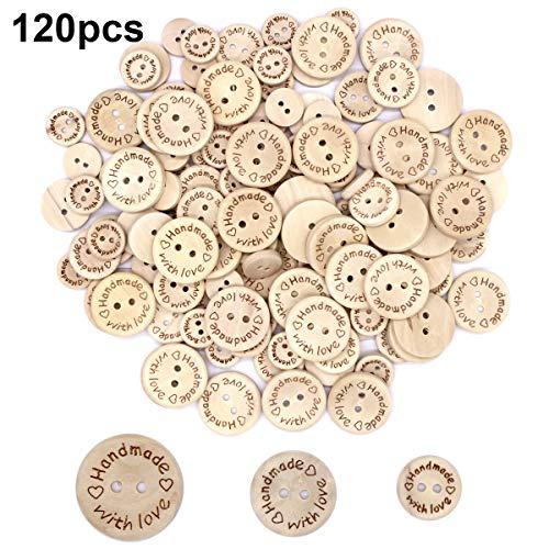 """120pcs Knöpfe Kinder \""""Handmade with love\"""" Holz Runde Form Knöpfe zum Basteln und Nähen Dekorationen 15mm+20mm+25mm"""