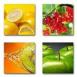 Obst - Set A schwebend, 4-teiliges Bilder-Set je Teil 29x29cm, Seidenmatte moderne Optik auf Forex, UV-stabil, wasserfest, Kunstdruck für Büro, Wohnzimmer, XXL Deko Bild