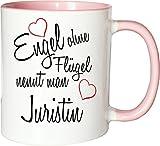 Mister Merchandise Becher Tasse Engel Ohne Flügel Nennt Man Juristin Kaffee Kaffeetasse liebevoll Bedruckt Beruf Job Geschenk Weiß-Rosa