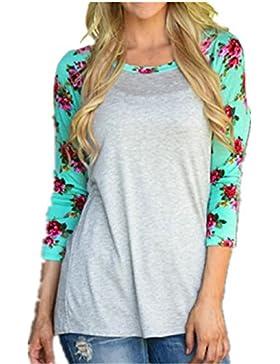 Girocollo Moda Sexy Donna Maglie A Manica Lunga Fiore Stampato Maglietta Camicetta T Shirt Top